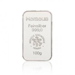 100 Gramm Silberbarren (Heraeus)