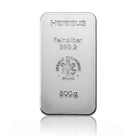 500g Silberbarren Heraeus