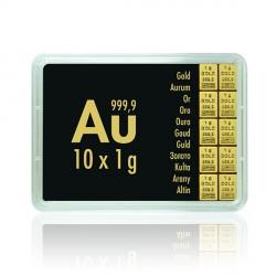 10 x 1 Gramm Gold Tafelbarren Combibarren (Valcambi)