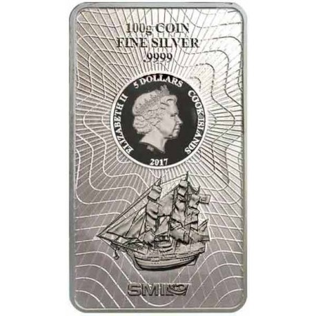 100 Gramm Silber Münzbarren Cook Island