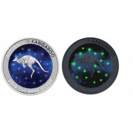 1 Unze Silber GlowingGalaxy Kangaroo 2019