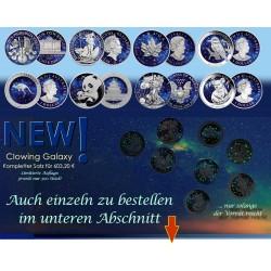 8 Motive je 1 Unze Silber GlowingGalaxy 2019 ( einzeln ab 74,60 € )