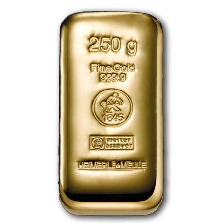 250 Gramm Goldbarren gegossen (H&M)