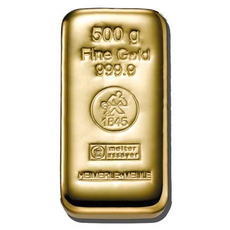 500 Gramm Goldbarren gegossen (H&M)