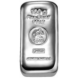 100 Gramm Silberbarren gegossen (H&M)