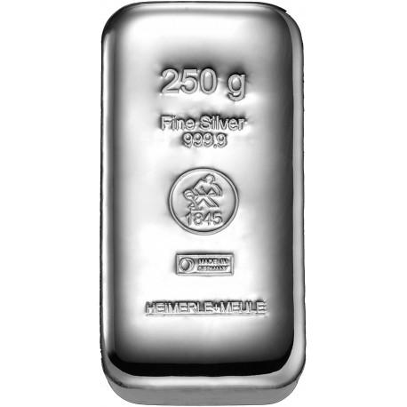 250 Gramm Silberbarren gegossen (H&M)