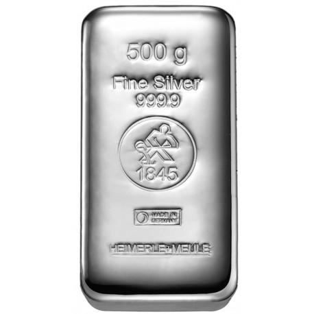 500 Gramm Silberbarren gegossen (H&M)